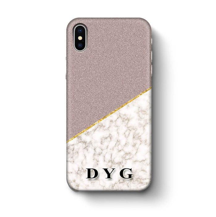 Gold Marble & Glitter With Initials - iPhone 3D Custom Phone Case design-your-gift.