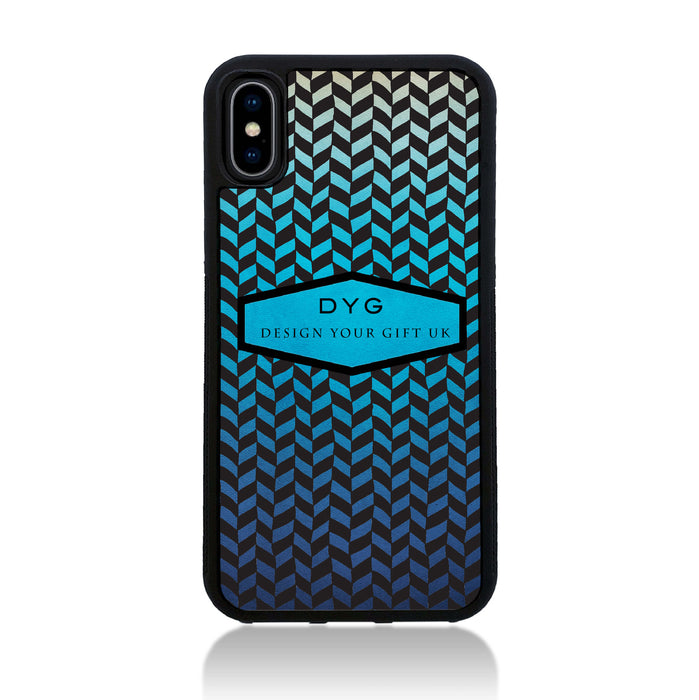 Geometric Hollow Design with Text - iPhone X Black Rubber Case - blue lagoon colours design