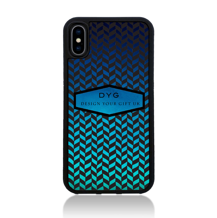 Geometric Hollow Design with Text - iPhone X Black Rubber Case - blue sea colours design