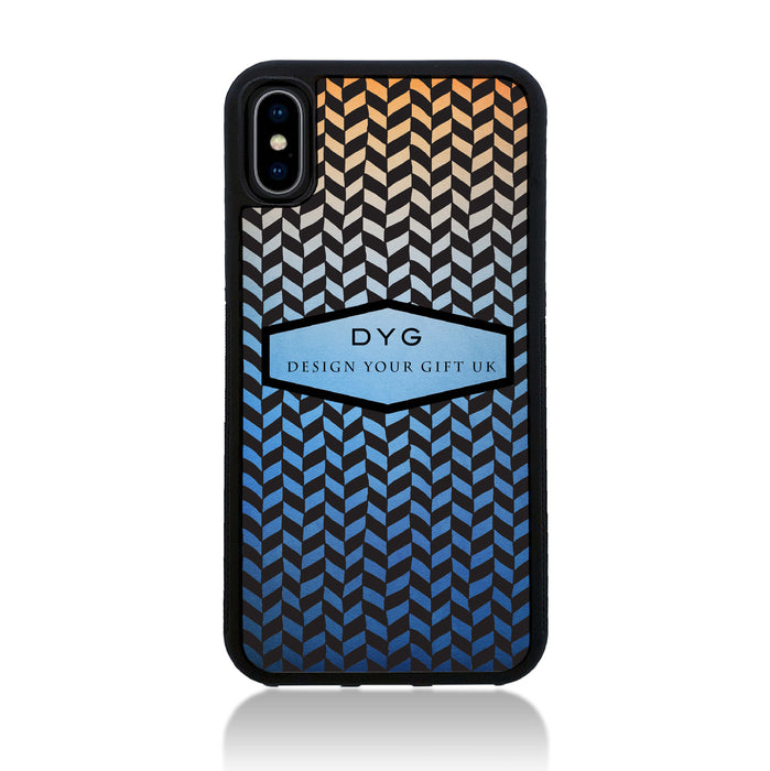 Geometric Hollow Design with Text - iPhone X Black Rubber Case - blue sky colours design