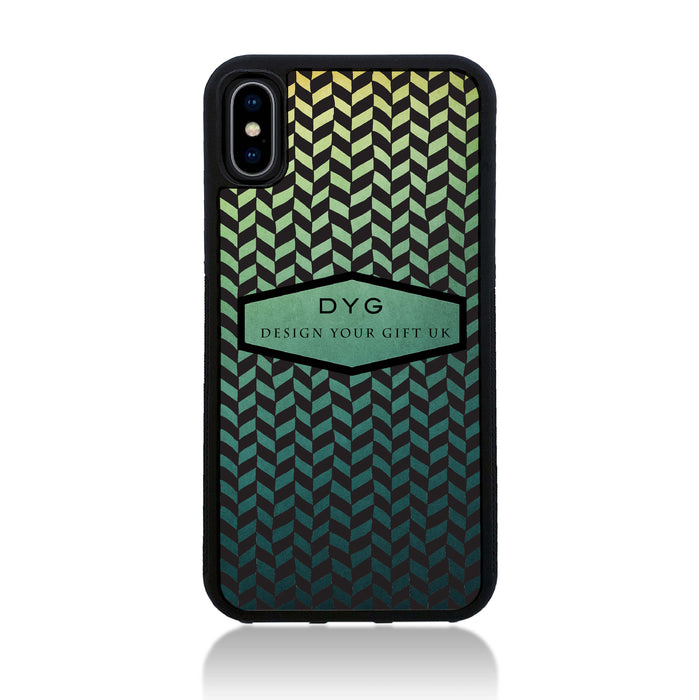 Geometric Hollow Design with Text - iPhone X Black Rubber Case - green lake colours design
