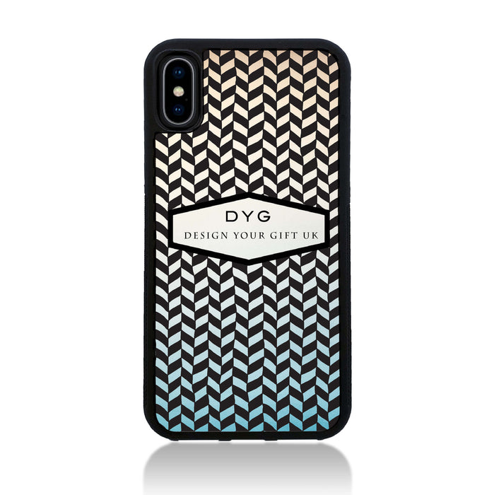 Geometric Hollow Design with Text - iPhone X Black Rubber Case - sky colours design
