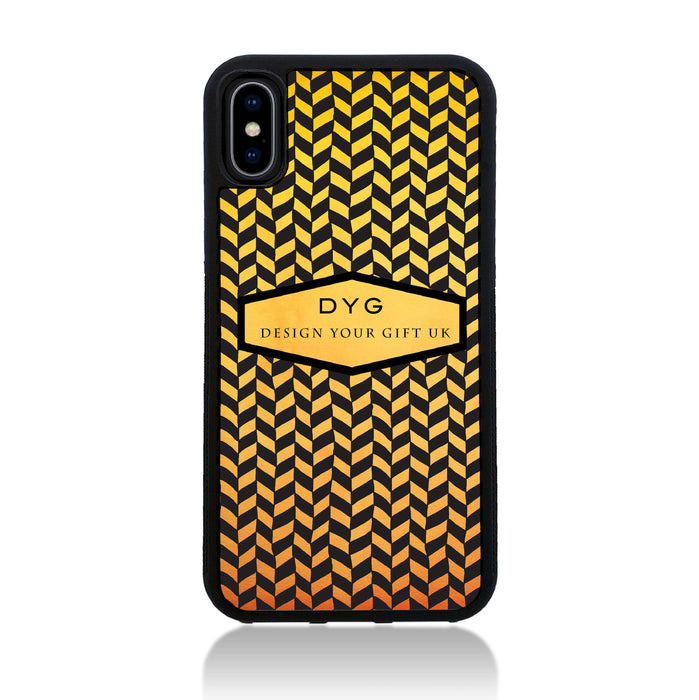 Geometric Hollow Design with Text - iPhone X Black Rubber Case - summer colours design