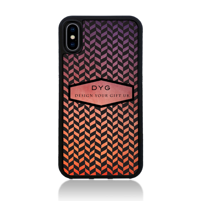 Geometric Hollow Design with Text - iPhone X Black Rubber Case - sunset colours design