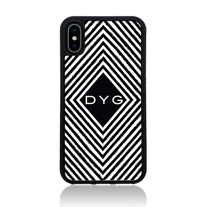 Black & White Pattern with Initial - iPhone X Black Rubber Phone Case - Geometric pattern