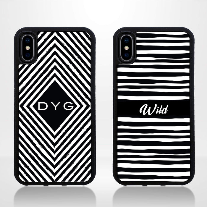 Black & White Pattern with Initial - iPhone X Black Rubber Phone Case