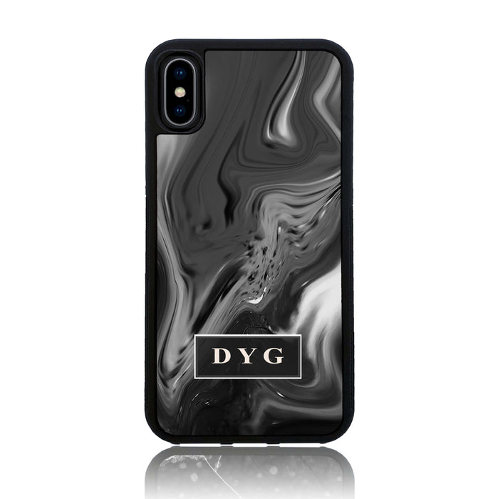Black Liquid Marble with Initials - iPhone X Black Rubber Phone Case
