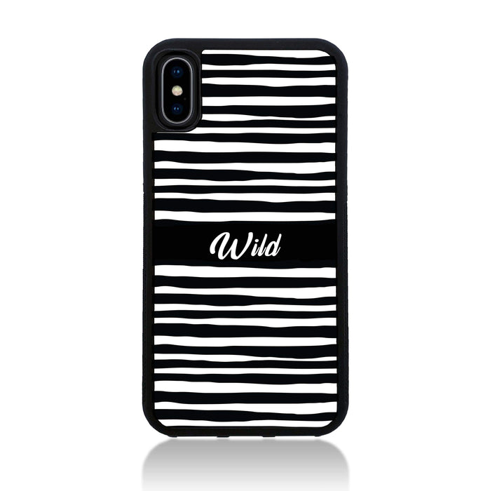 Black & White Pattern with Initial - iPhone X Black Rubber Phone Case - Wild zebra pattern