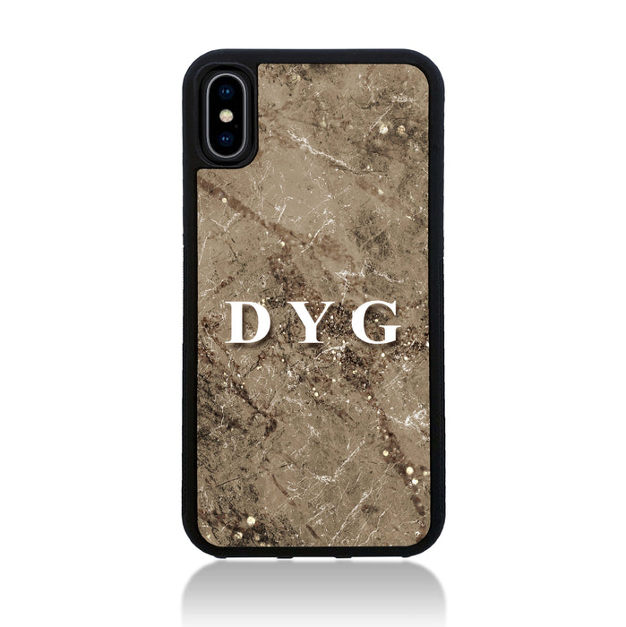 iPhone X Black Rubber Case | Sparkle Marble with Initials - cinnamon marble effect