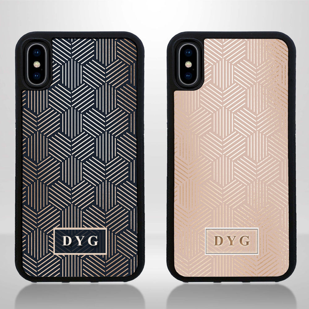 iPhone X Black Rubber Case | Glossy Pattern with Initials