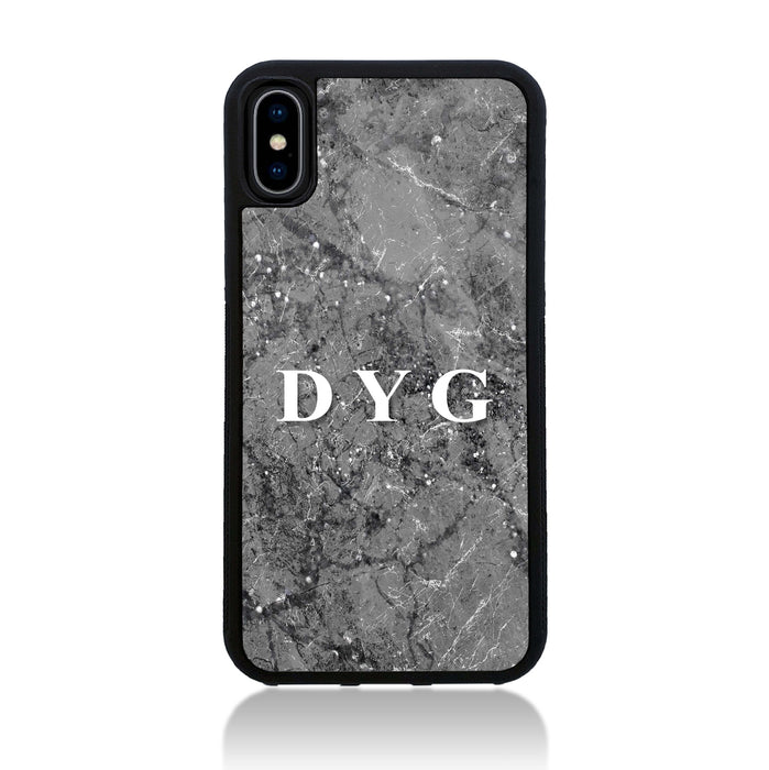 iPhone X Black Rubber Case | Sparkle Marble with Initials - silver mink marble effect