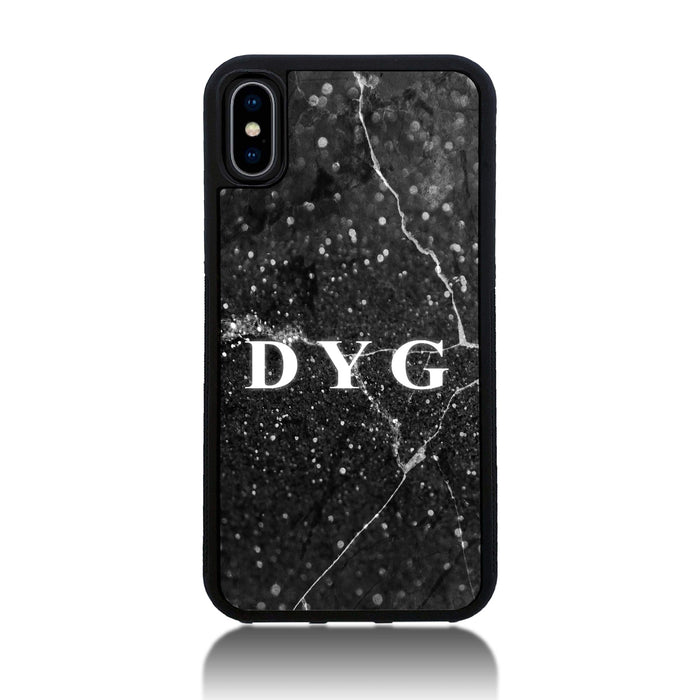 iPhone X Black Rubber Phone Case | Dark Marble Initials Case - black marble effect