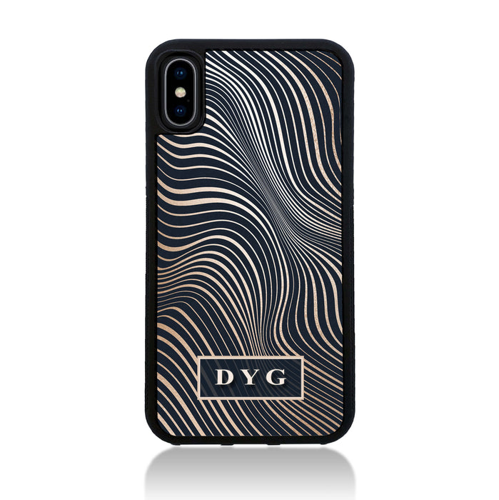 iPhone X Black Rubber Phone Case | Glossy Wave with Initials - black background with glossy rose waves