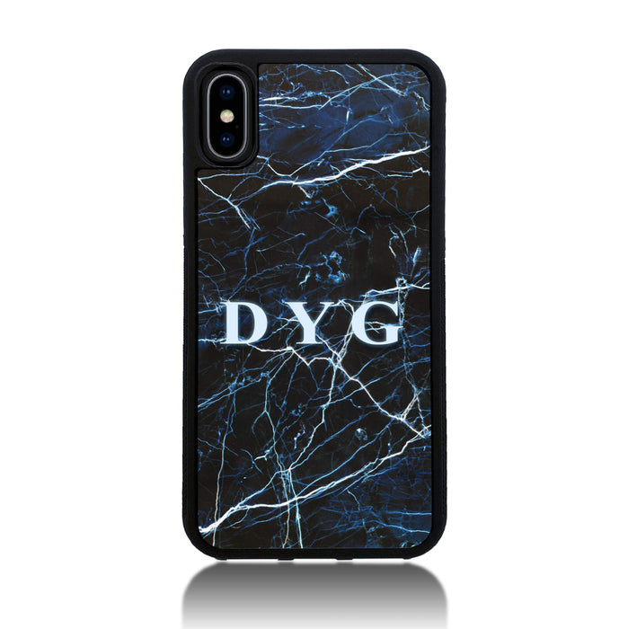 iPhone X Black Rubber Phone Case | Dark Marble Initials Case - dark sea marble effect