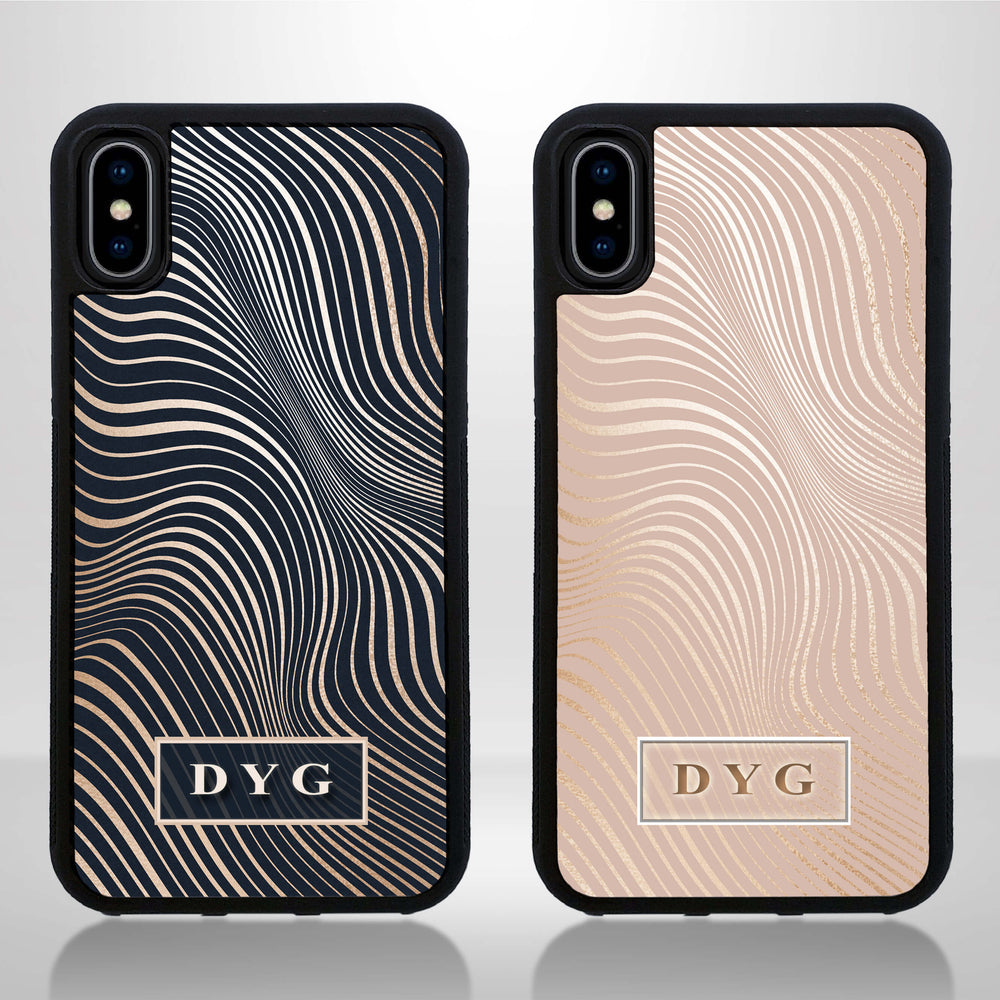 iPhone X Black Rubber Phone Case | Glossy Wave with Initials