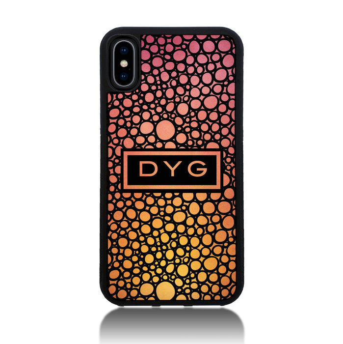 iPhone X Black Rubber Phone Case | Bubble Hollow and Initial - hot summer colours design