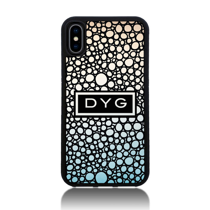 iPhone X Black Rubber Phone Case | Bubble Hollow and Initial - sky colours design