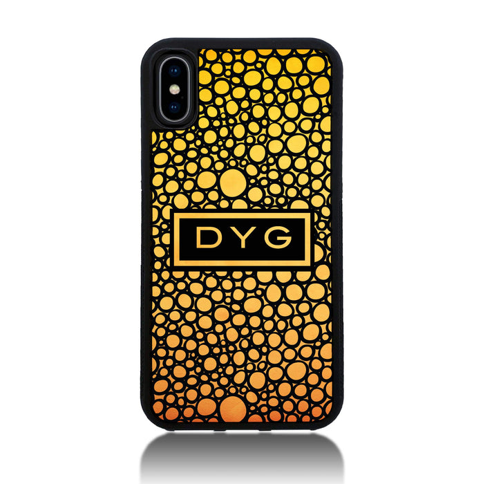 iPhone X Black Rubber Phone Case | Bubble Hollow and Initial - summer colours design