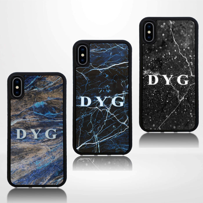 Dark Marble with Initials - iPhone Black Rubber Phone Case design-your-gift.