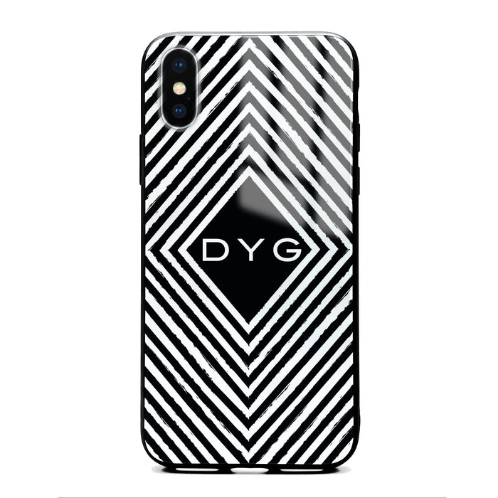 Custom initials iPhone X Glass phone case with withe black and white geometric pattern design