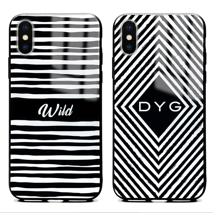 Custom initials iPhone X Glass phone case with seamless black and white patterns in 2 different designs