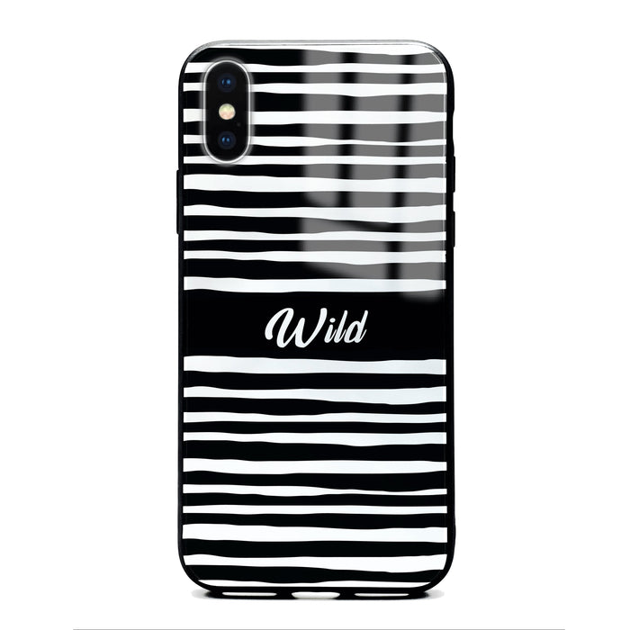 Custom initials iPhone X Glass phone case with Wild black and white design pattern
