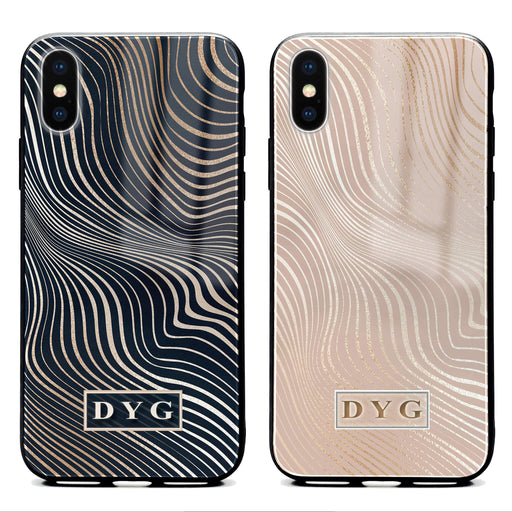 iphone x glass phone case personalised with initials on a glossy waves pattern available in 2 colours
