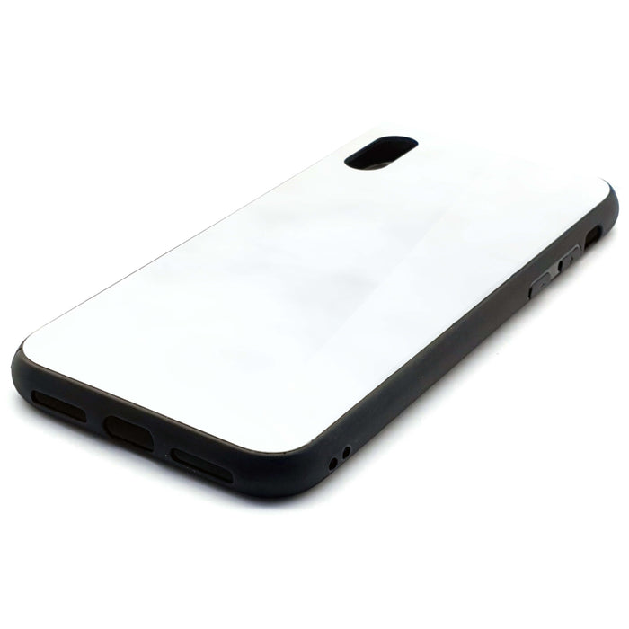 Blank iPhone x Glass phone case with black rubber edges side 2
