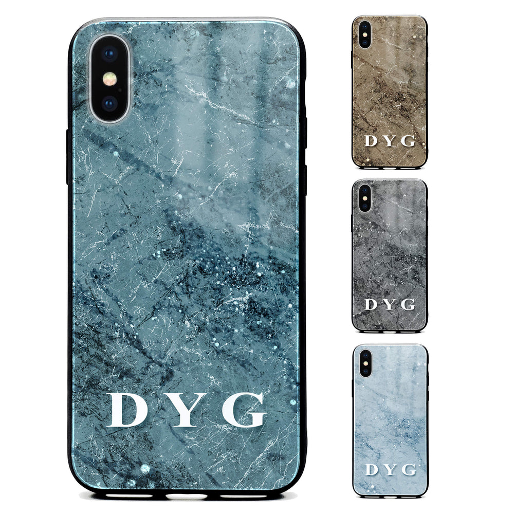Sparkle Marble With Initials - iPhone X/Xs Glass Phone Case design-your-gift.