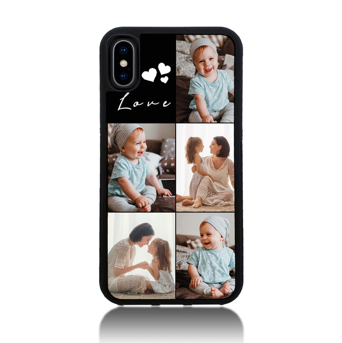 iPhone X Black Rubber Phone Case | 5 Photos Phone Case