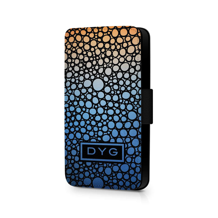 Bubbles Hollow With Initials | iPhone 6 Wallet Phone Case - Blue Sky Colours Design