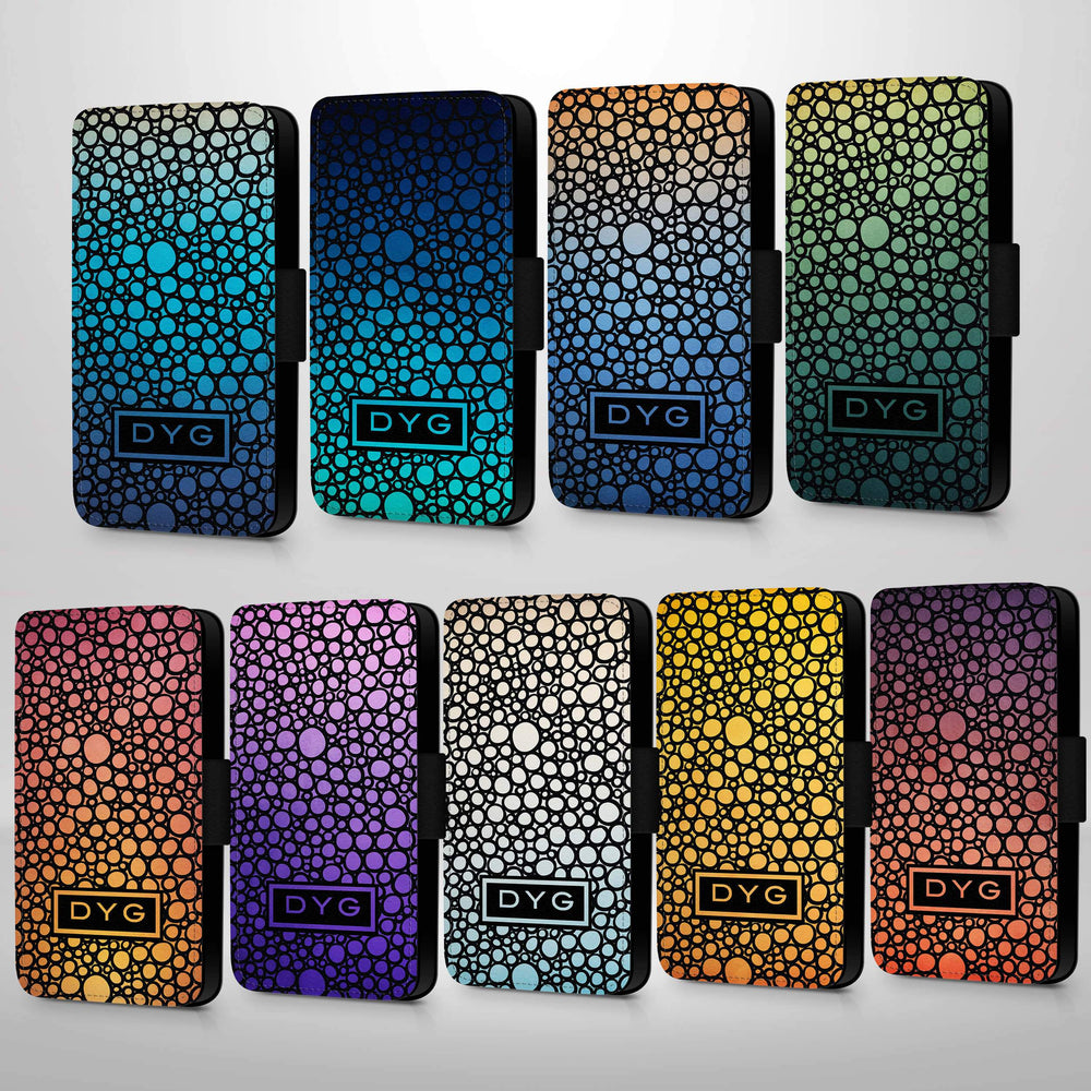 Bubbles Hollow With Initials | iPhone 6 Wallet Phone Case - 9 variants of colour