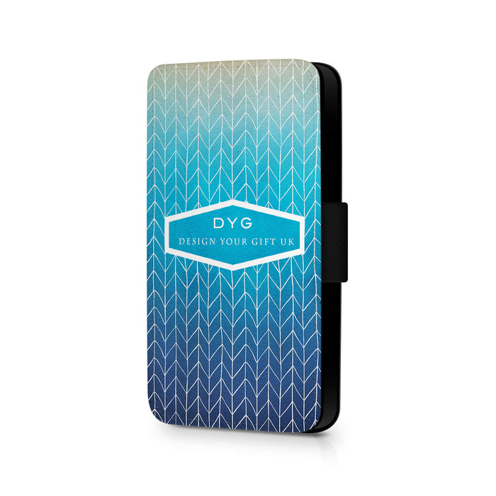Personalised iPhone 6+ Wallet Case | ZigZag Ombre Phone Case - blue lagoon colours design