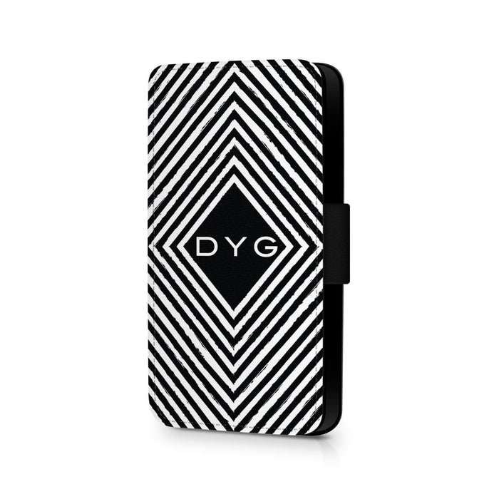 Personalised iPhone 6+ Wallet Case | Black & White Pattern - Geometric Pattern