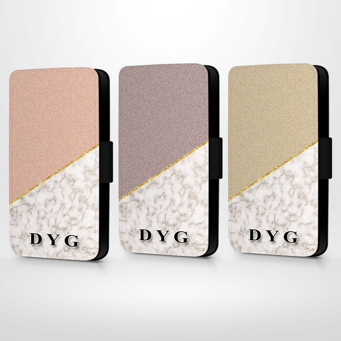 Personalised iPhone 6+ Wallet Case | Marble and Glitter Case