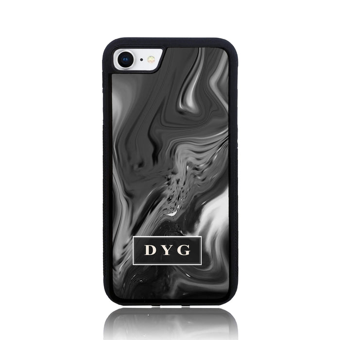 Black Liquid Marble with Initials - iPhone 7 Black Rubber Phone Case