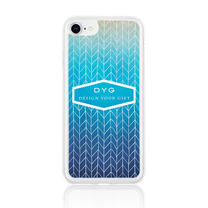 ZigZag Ombre with your Text - iPhone 7 Clear Phone Case - Blue Lagoon colours design