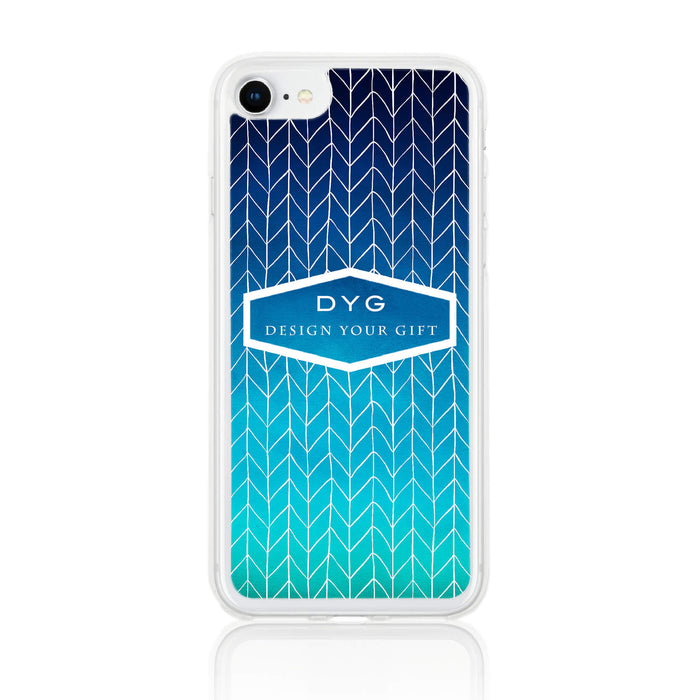 ZigZag Ombre with your Text - iPhone 7 Clear Phone Case - Blue Sea colours design