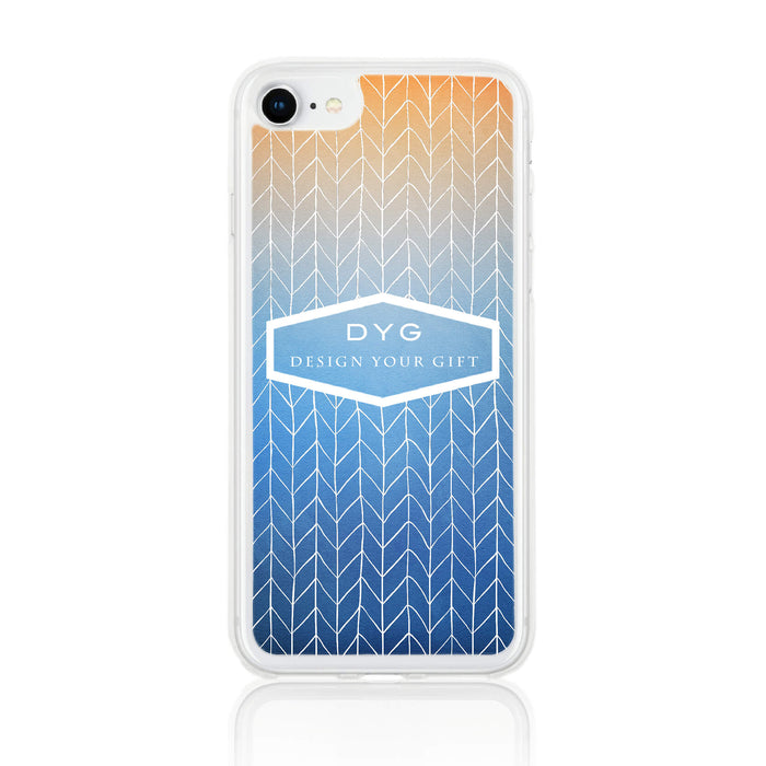 ZigZag Ombre with your Text - iPhone 7 Clear Phone Case - Blue Sky colours design