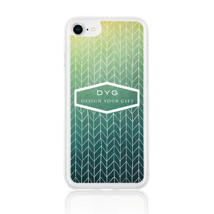ZigZag Ombre with your Text - iPhone 7 Clear Phone Case - Green Lake colours design