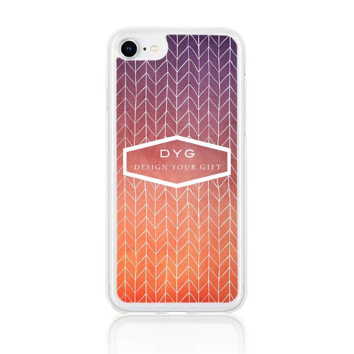 ZigZag Ombre with your Text - iPhone 7 Clear Phone Case - Sunset colours design