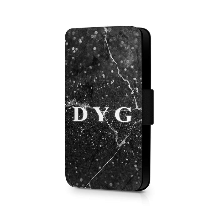 Dark Marble with Initials | iPhone 7 Wallet Case - Black Marble Effect