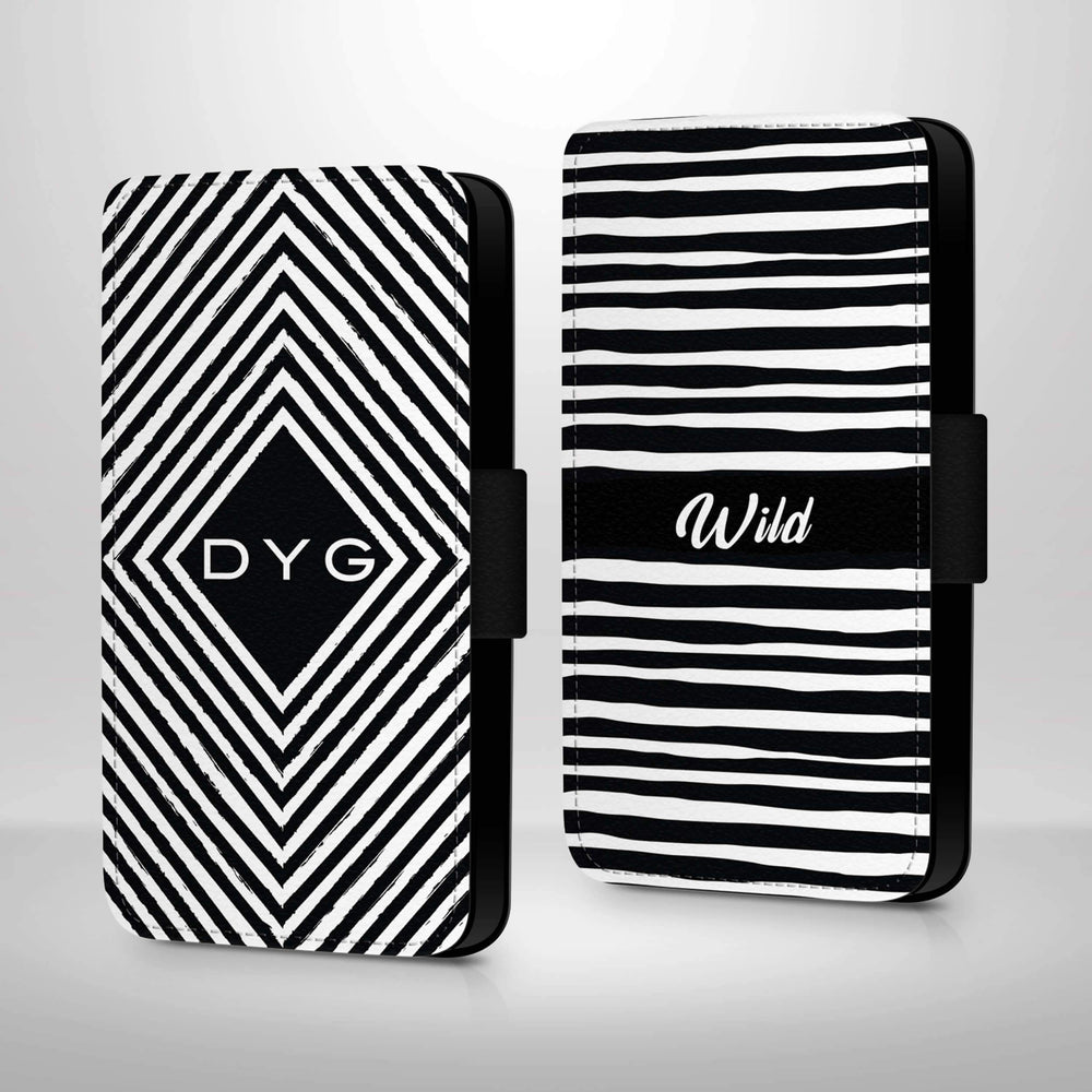 Black & White Pattern with Initials | iPhone 7 Wallet Case