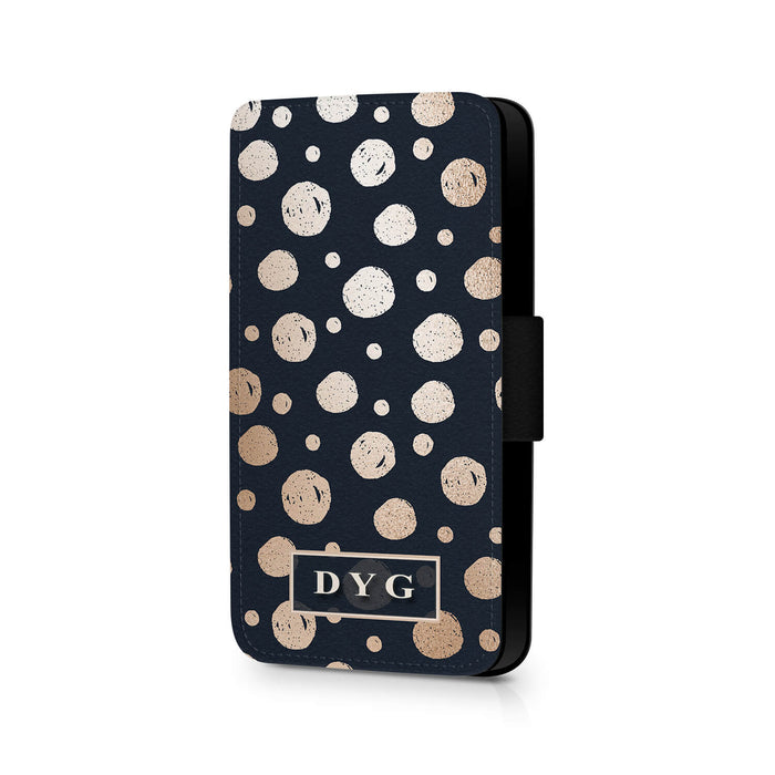 Glossy Dots Pattern with Initials | iPhone 7 Wallet Case - Black background with rose glossy dots