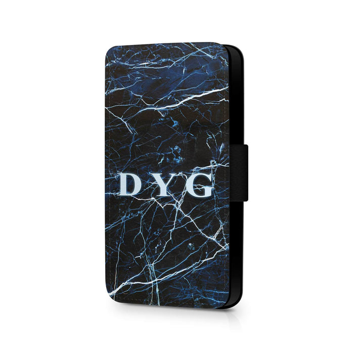 Dark Marble with Initials | iPhone 7 Wallet Case - Dark Sea Marble Effect