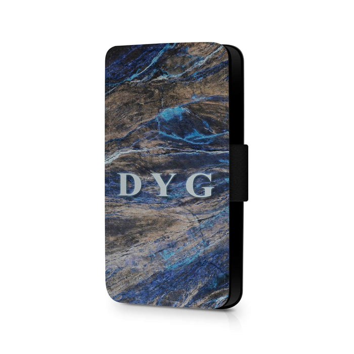 Dark Marble with Initials | iPhone 7 Wallet Case - Earthy Blue Marble Effect