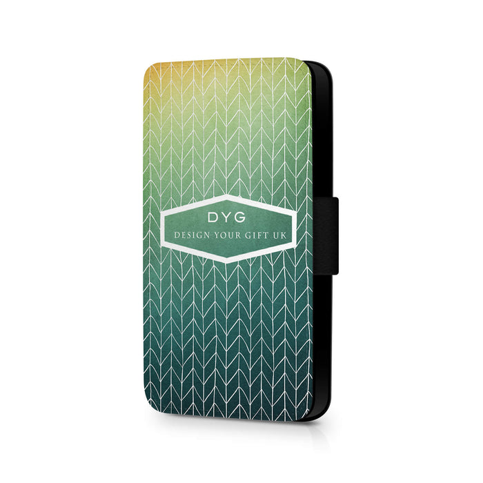 ZigZag Ombre with Text | iPhone 7 Wallet Case - green lake colours design