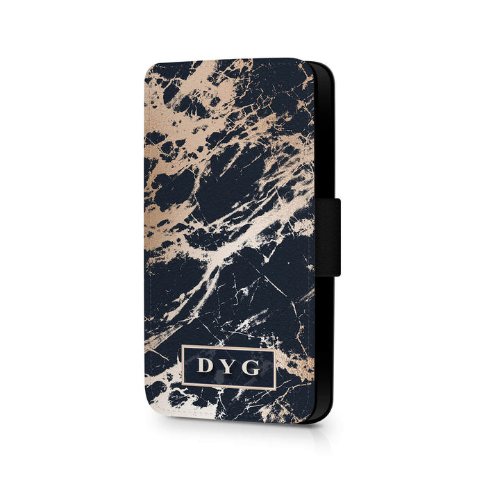 Luxury Gloss Marble with Initials | iPhone 7 Wallet Case - black background with glossy rose marble pattern design