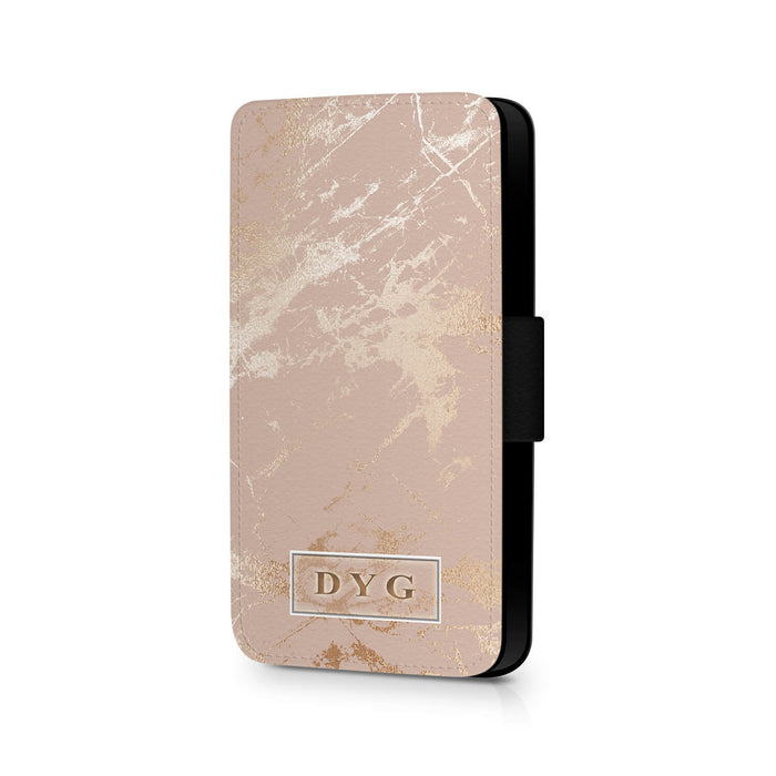 Luxury Gloss Marble with Initials | iPhone 7 Wallet Case - champagne background with glossy rose marble pattern design