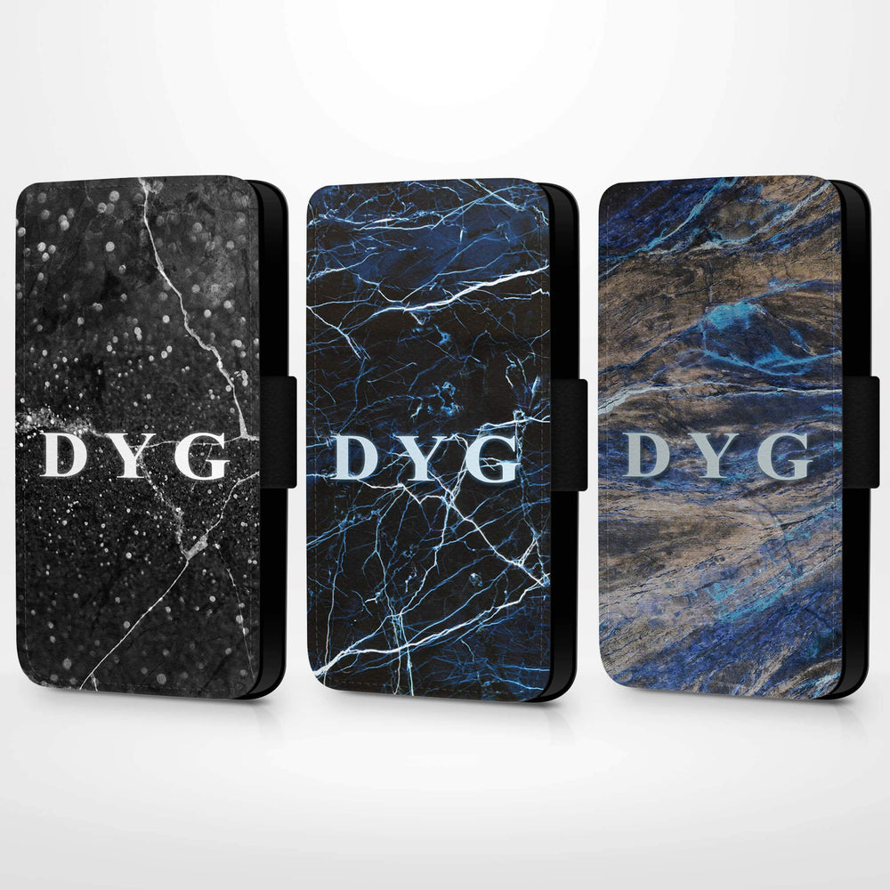 Dark Marble with Initials | iPhone 7 Wallet Case